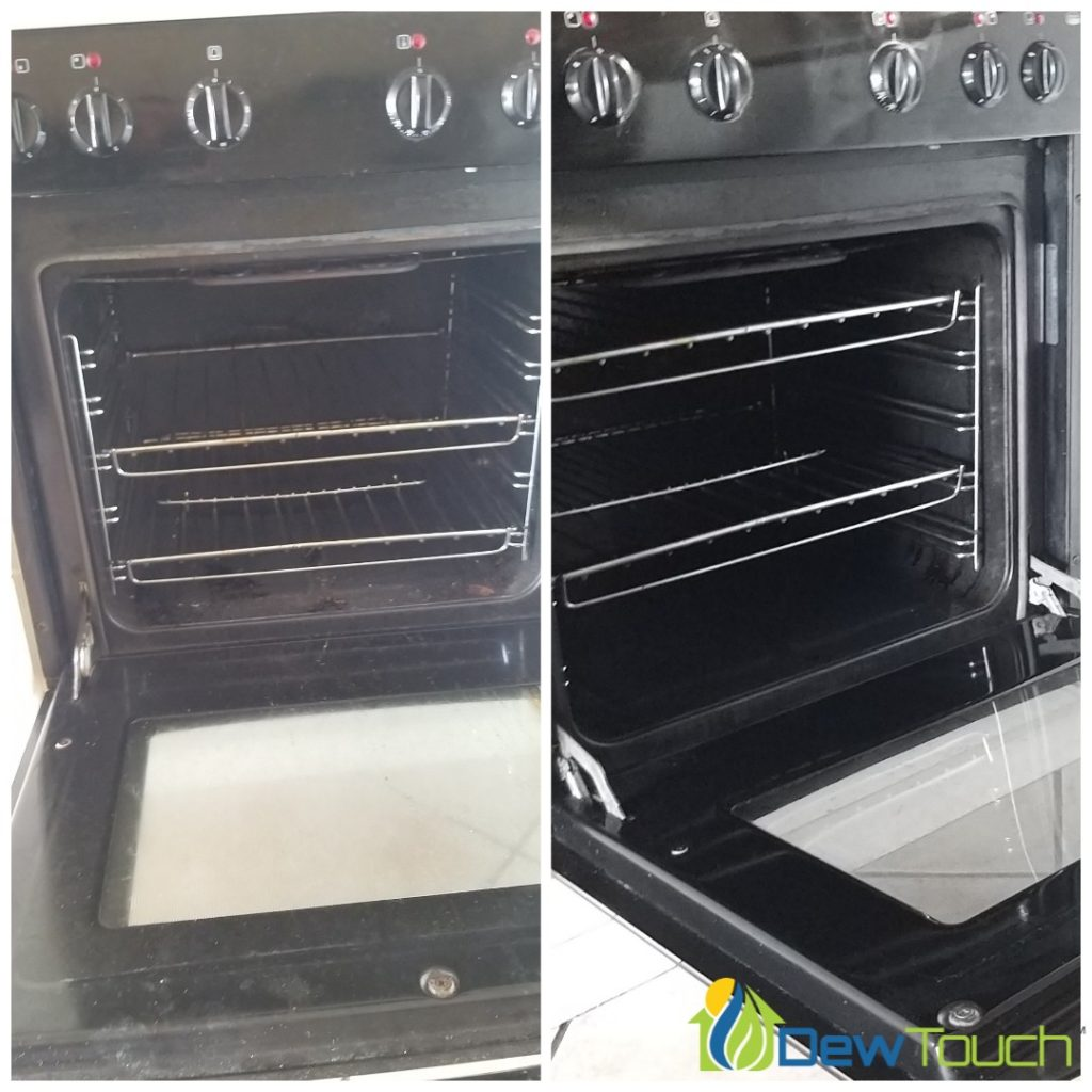 Our before and after for deep cleaning an oven - house cleaning services.